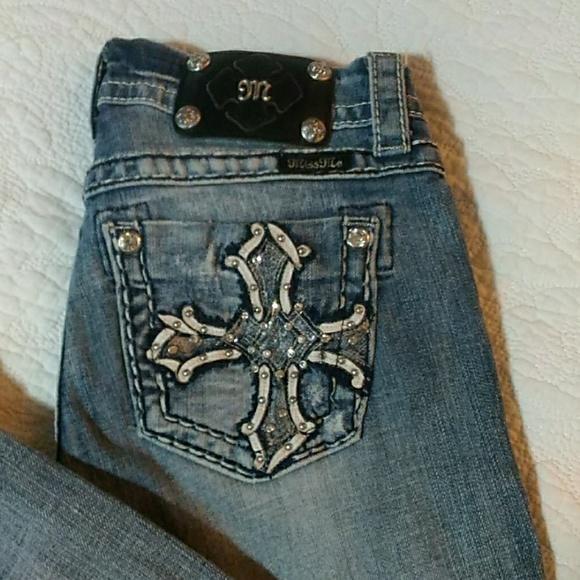 Miss Me Denim - Miss Me Leather Jeweled Cross Pocket Capri Jeans